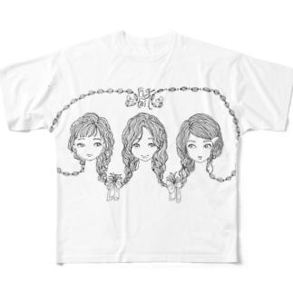 みつあみ Full graphic T-shirts