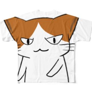 ニヒルな口の猫 Full graphic T-shirts