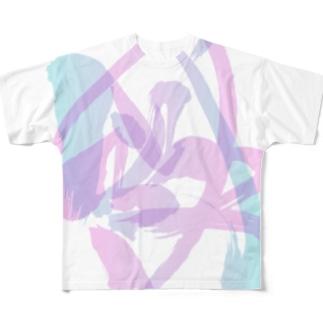混ざり合う阿吽(ピンク×ブルー) Full graphic T-shirts
