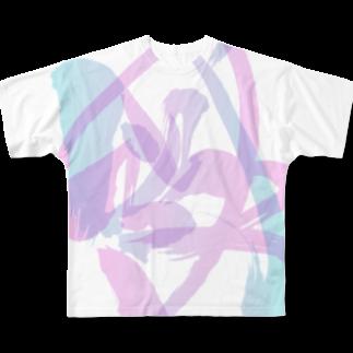 shinkilowの混ざり合う阿吽(ピンク×ブルー) Full graphic T-shirts