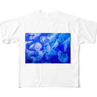 青 Full graphic T-shirts