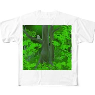 シマフクロウの森 Full graphic T-shirts
