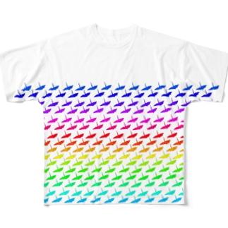 折り鶴 Full graphic T-shirts