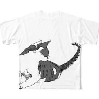 振り向き猫 Full graphic T-shirts