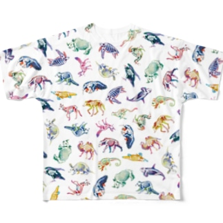 どうぶつとホネ[pattern-B] Full graphic T-shirts