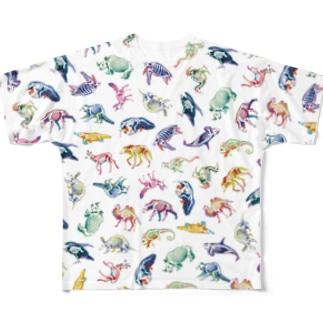 どうぶつとホネ[pattern-B] フルグラフィックTシャツ