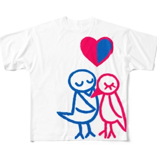 とりのカップル Full graphic T-shirts