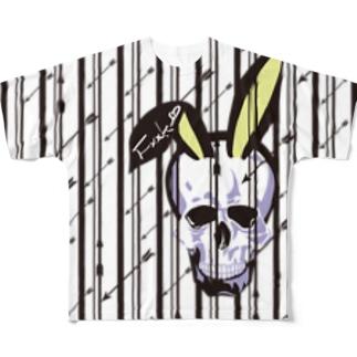 うさ耳スカル【ストライプver.】 Full graphic T-shirts