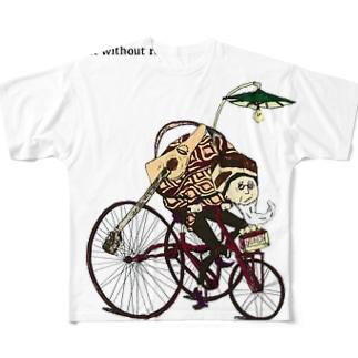 ギターおじさんonチャリ Full graphic T-shirts
