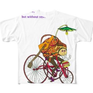 ギターおじさんonチャリ(POP) Full graphic T-shirts