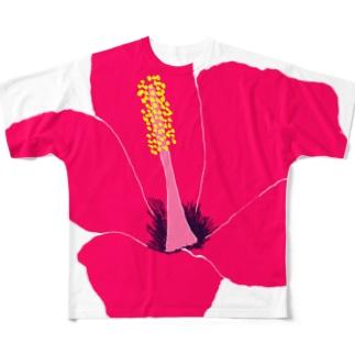 ハイビスカスレッド Full graphic T-shirts