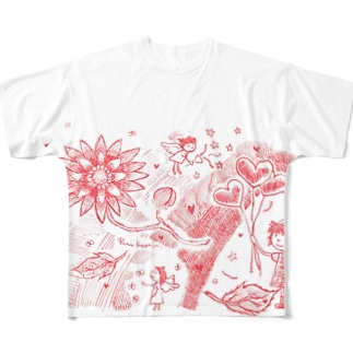 真っ赤な夢の花 Full graphic T-shirts