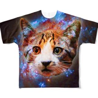 宇宙ネコ Full graphic T-shirts