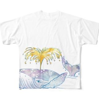 昭島の銭湯のクジラ Full graphic T-shirts
