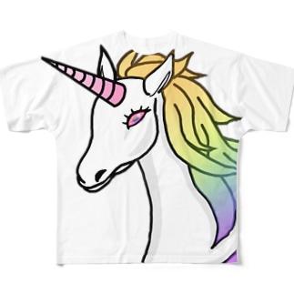 ユニコーン 虹色 ゆめかわいい Full graphic T-shirts