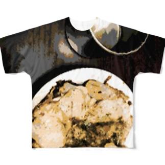 肉とカップ Full graphic T-shirts