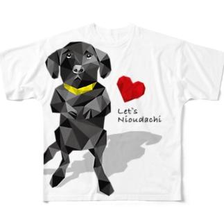 黒ラブの仁王立ち Full graphic T-shirts
