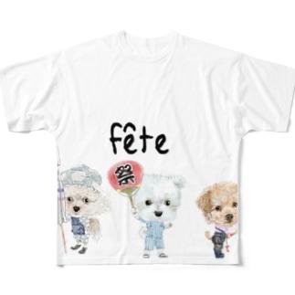 お祭りワンコ Full graphic T-shirts