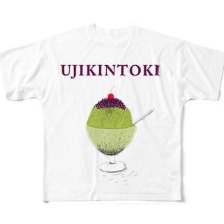 かき氷デザイン「宇治金時」 Full graphic T-shirts