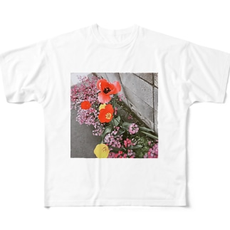 mono黒フラワー Full graphic T-shirts