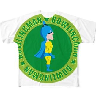 ボーリングマン かわいい エンブレム グリーンバック Full graphic T-shirts