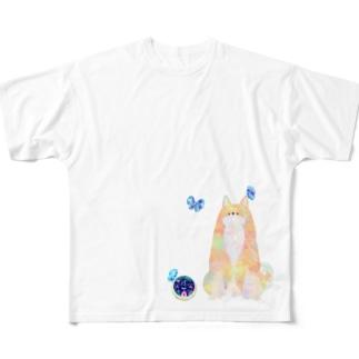 柴犬さんと蝶々さん Full graphic T-shirts