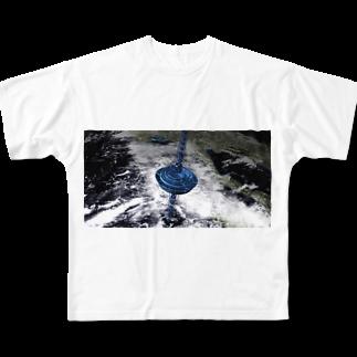 JPKimages  ジェーピーケーイメージズ直営ショップのJPKサイエンスシリーズ 宇宙エレベーター Full graphic T-shirts