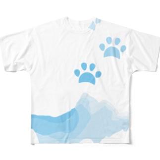 水遊びした肉球 Full graphic T-shirts