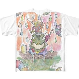 朝露と雨蛙の朝食 Full graphic T-shirts