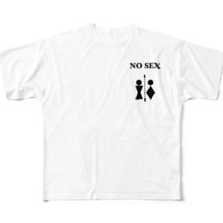 NO SEX ロゴ Full graphic T-shirts