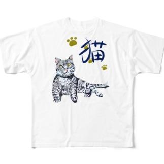 灰虎猫(和み) Full graphic T-shirts