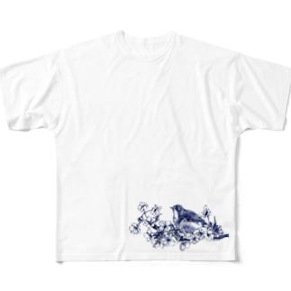 桜とメジロ Full graphic T-shirts