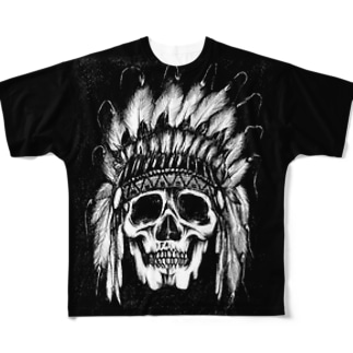 Indian Skull Face All-Over Print T-Shirt