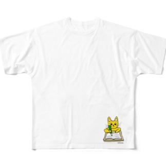 ガリバリ受験生ニャーンコ Full graphic T-shirts
