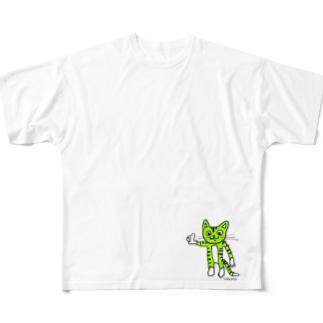 スーパーウルトラポジティブニャーンコ Full graphic T-shirts