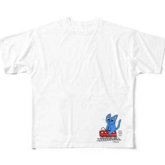 赤電のりてつニャーンコ Full graphic T-shirts