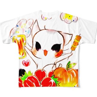 【ビールねこ】フルーツMIX.ver Full graphic T-shirts