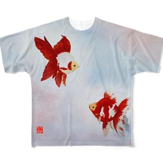 【金魚】琉金~雲竜の関~ Full graphic T-shirts