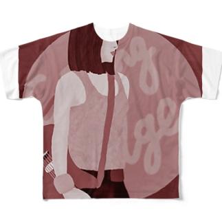 ハードロッカー バーガンディ Full graphic T-shirts