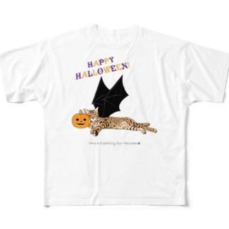 ハロウィン猫たまき Full graphic T-shirts