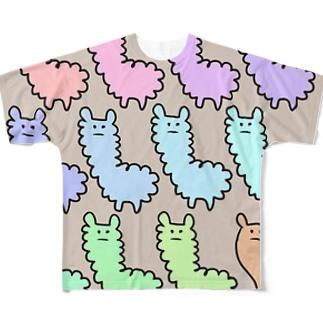 アルパカぱかぱかちょっとオカピ Full graphic T-shirts