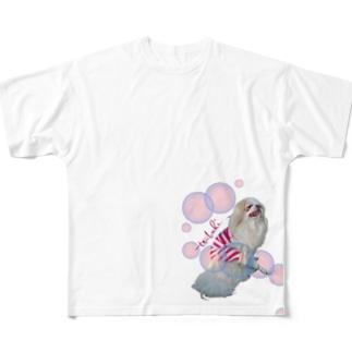 お嬢の流し目、椿[狆] Full graphic T-shirts