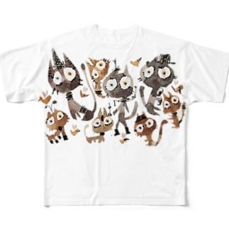 黒茶猫 Full graphic T-shirts