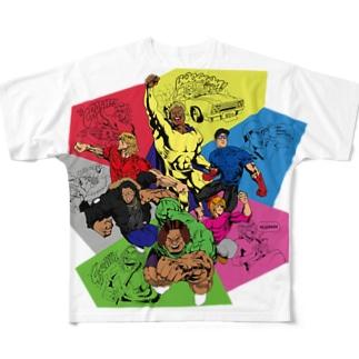 女をグーで殴る男たち Full graphic T-shirts