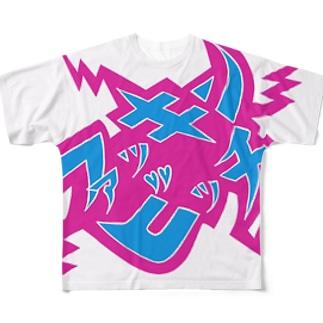 """叫べ""""ファッ〇ンビッ〇""""!!ピンク&ネイビー Full graphic T-shirts"""