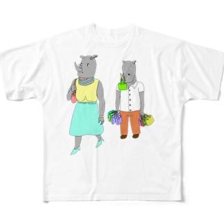 荷物を持たされるサイ Full graphic T-shirts