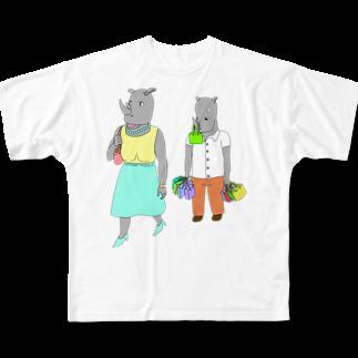 よしすみショップの荷物を持たされるサイ Full graphic T-shirts