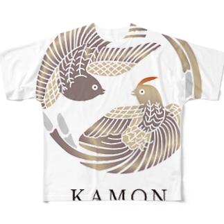 【KAMON by seibi】bird 尾長鳥 Full graphic T-shirts