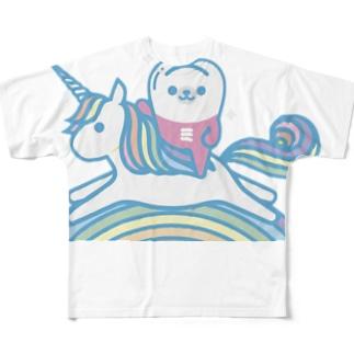 みがくま×ユニコーン Full graphic T-shirts