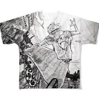 翔ぶスケーター Full graphic T-shirts